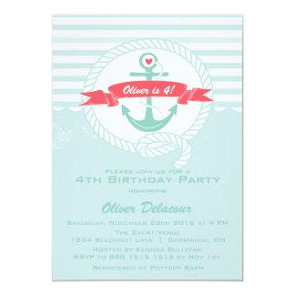 Invitation nautique rustique de partie carton d'invitation  12,7 cm x 17,78 cm