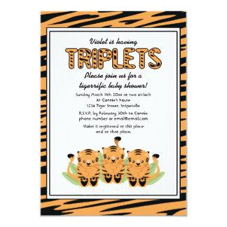 Invitation neutre de baby shower de triplets de