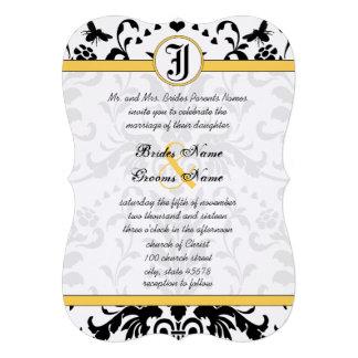 Invitation noir jaune de mariage damassé d'abeille