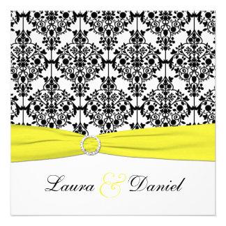 Invitation noire blanche jaune de mariage damass