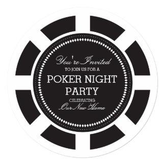 Invitation noire de partie de nuit de jeu de jeton