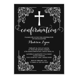 Invitation noire élégante de confirmation de croix