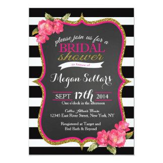 Invitation nuptiale blanche de douche de noir rose