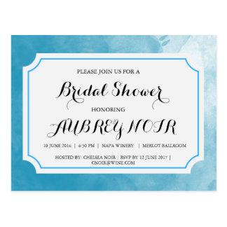 Invitation nuptiale bleue de douche de Watercolr Carte Postale
