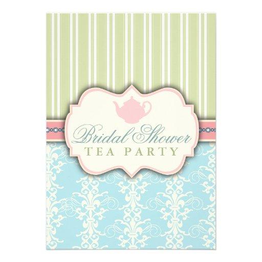 Invitation nuptiale chic de thé de douche de damas