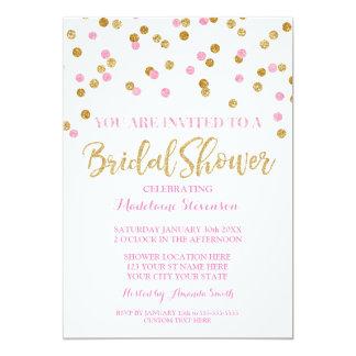 Invitation nuptiale de douche de confettis roses