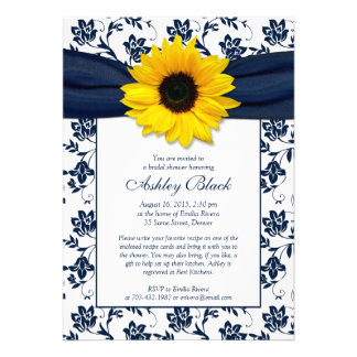 Invitation nuptiale de douche de damassé de marine