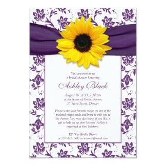Invitation nuptiale de douche de damassé pourpre carton d'invitation  12,7 cm x 17,78 cm