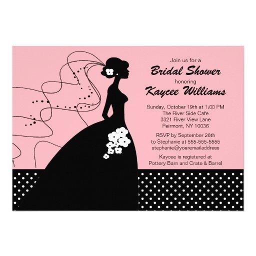 Invitation nuptiale de douche de jeune mariée rose