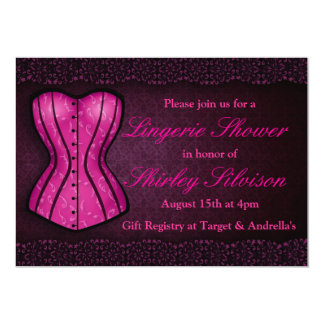 Invitation nuptiale de douche de lingerie rose de carton d'invitation  12,7 cm x 17,78 cm