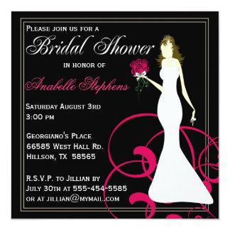 Invitation nuptiale de douche de noir et de roses carton d'invitation  13,33 cm