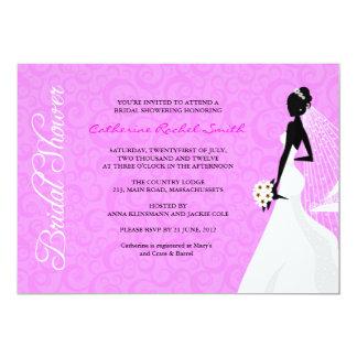 Invitation nuptiale de douche de silhouette carton d'invitation  12,7 cm x 17,78 cm