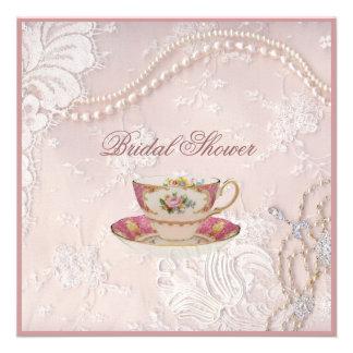 invitation nuptiale de thé de dentelle de perle