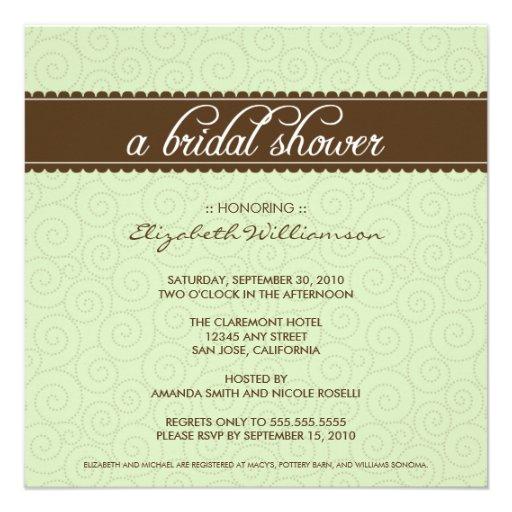 Invitation nuptiale intemporel de douche (sauge/ch
