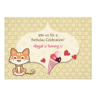 Invitation orange mignonne d'anniversaire de chat