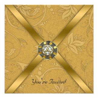 Invitation ornée de bijoux de partie d or