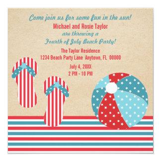 Invitation patriotique de partie de plage