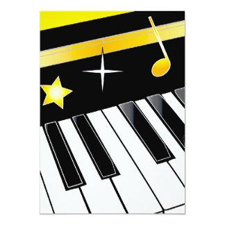 "Invitation: Piano Competition Piano Keys with Gold 5"" X 7"" Invitation Card"