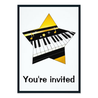 """Invitation: Piano Recital with Star 5"""" X 7"""" Invitation Card"""