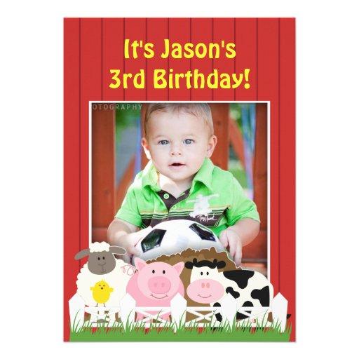 Invitation plate de ferme de photo d'anniversaire
