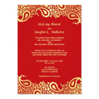 Invitation plate de mariage indien élégant de