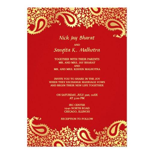Invitation plate de mariage indien élégant de Pais