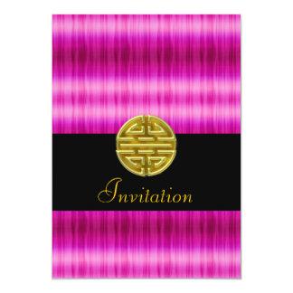 Invitation populaire rose avec le symbole chinois