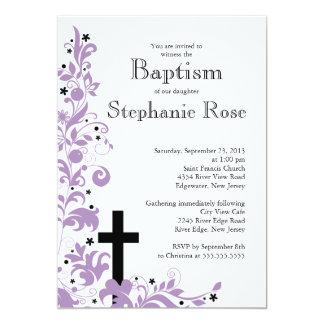 Invitation pourpre croisée moderne de baptême de