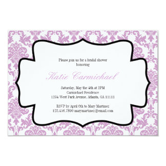 Invitation pourpre de damassé de lavande carton d'invitation 8,89 cm x 12,70 cm