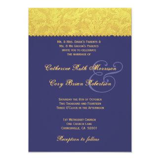 Invitation pourpre et jaune R436 de mariage