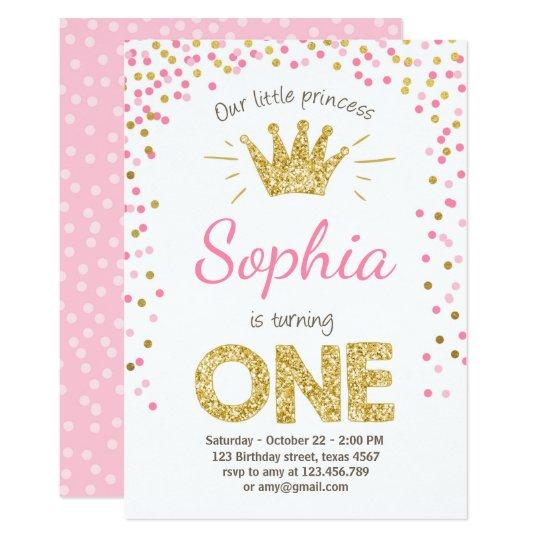 Invitation Premiere Princesse Gold Pink D Invitation Zazzle Ca