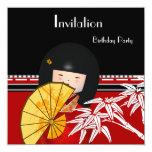 Invitation Red Black White Asian Bamboo