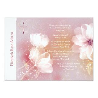 Invitation religieuse de magnolia blanche carton d'invitation  12,7 cm x 17,78 cm