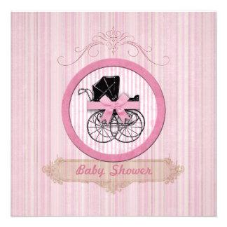 Invitation rose chic minable de baby shower