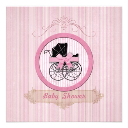Invitation rose chic minable de baby shower