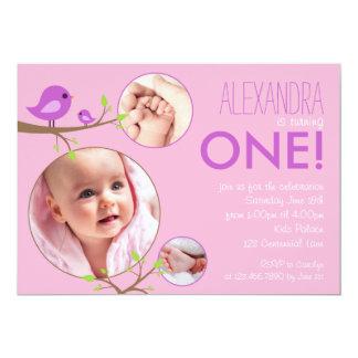 Invitation rose d'anniversaire de bébé d'oiseaux carton d'invitation  12,7 cm x 17,78 cm