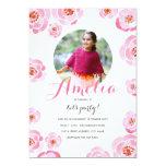 Invitation rose d'anniversaire de photo de roses