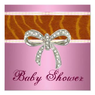 Invitation rose de baby shower d'arc de diamant de