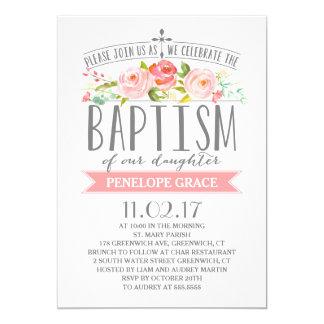 Invitation rose de baptême de fille de la bannière