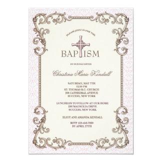 Invitation rose de baptême de Vieux Monde