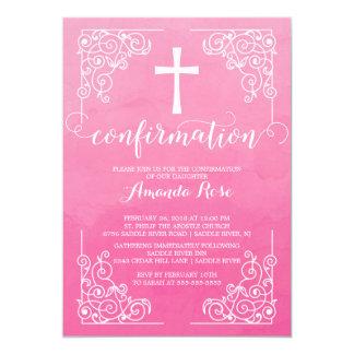 Invitation rose de confirmation de croix