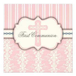 Invitation rose de damassé de première communion d
