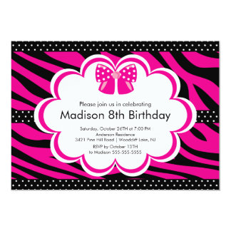 Invitation rose de fête d'anniversaire de Tween de