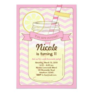 Invitation rose de limonade/invitation rose de carton d'invitation  12,7 cm x 17,78 cm