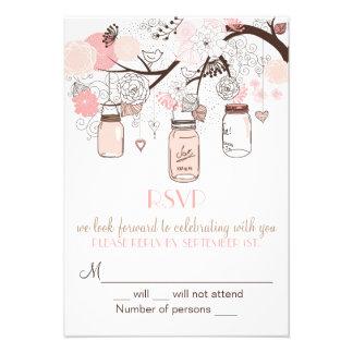 Invitation rose de mariage de pots et d inséparabl