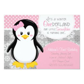 Invitation rose de pingouin d'ONEderland d'hiver