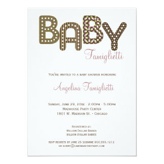 Invitation rose et brun chocolat de baby shower de