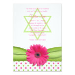 Invitation rose et verte de bat mitzvah de pois