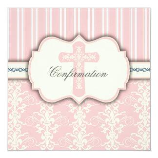 Invitation rose vintage de damassé de confirmation