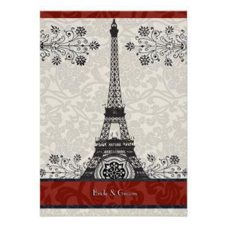 Invitation rouge de mariage de Tour Eiffel de dama